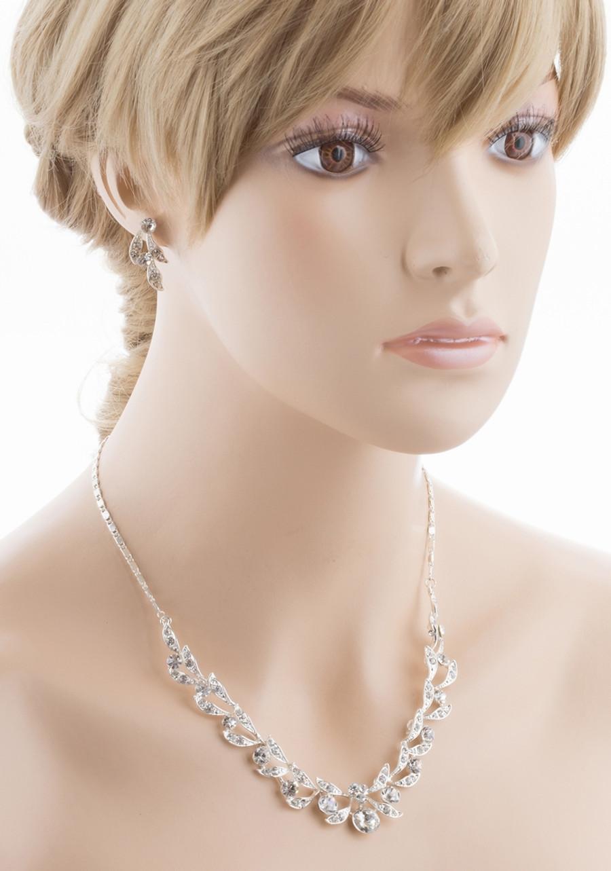 Bridal Wedding Jewelry Set Crystal Rhinestone Extravagant Chic Necklace Silver