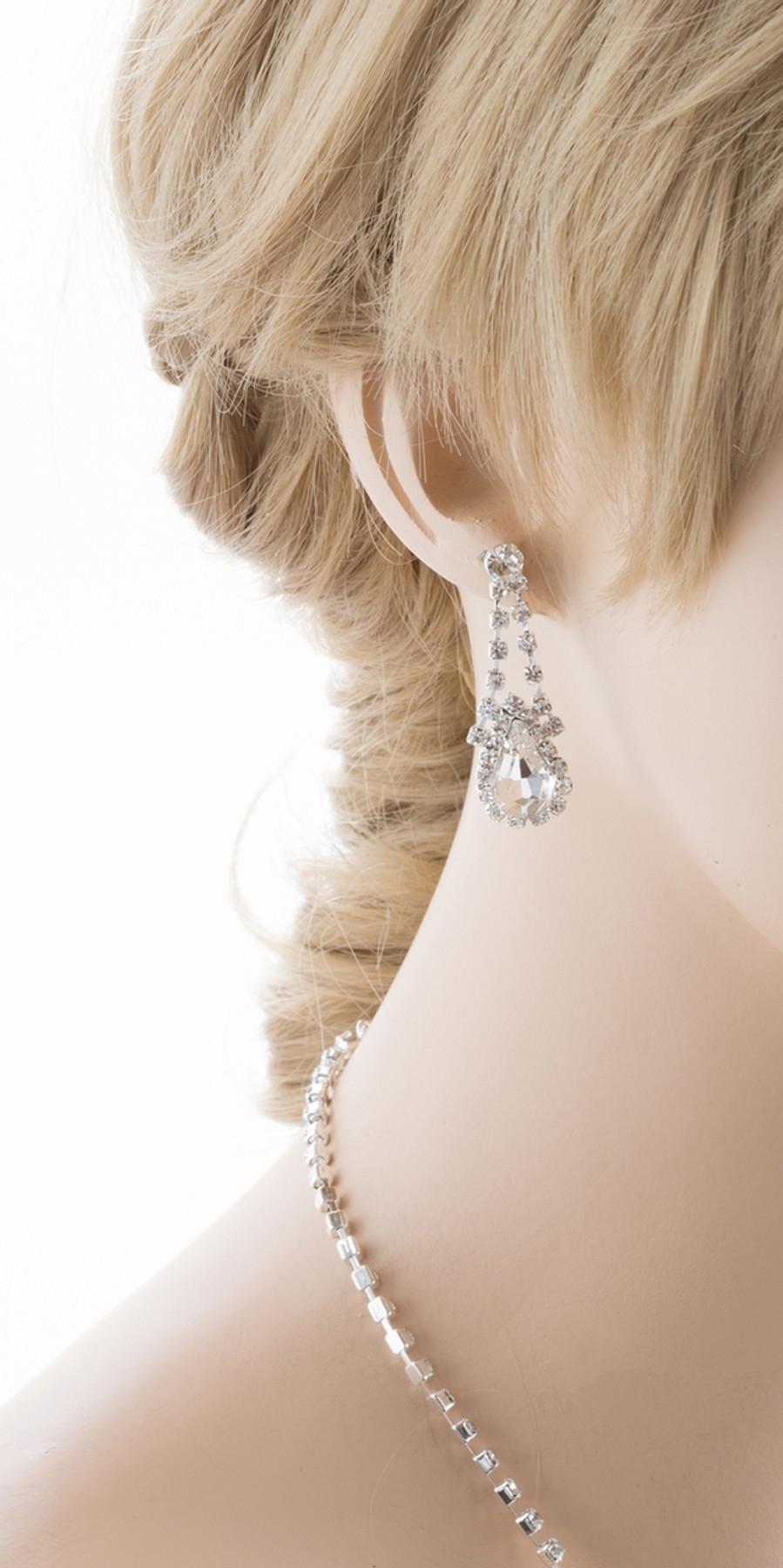 Bridal Wedding Jewelry Set Crystal Rhinestone Stunning Dressy Style Necklace