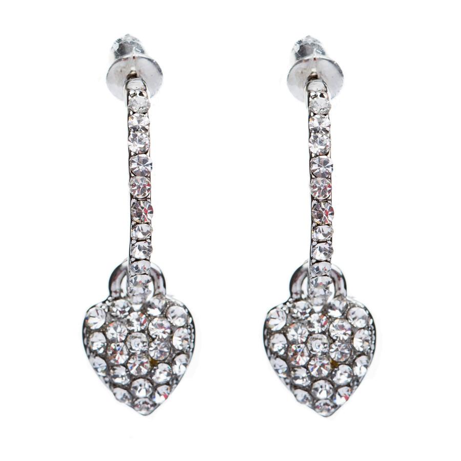 Fashion Adorable Sweet  Dangling Crystal Rhinestone Heart Charm Hoop Earrings