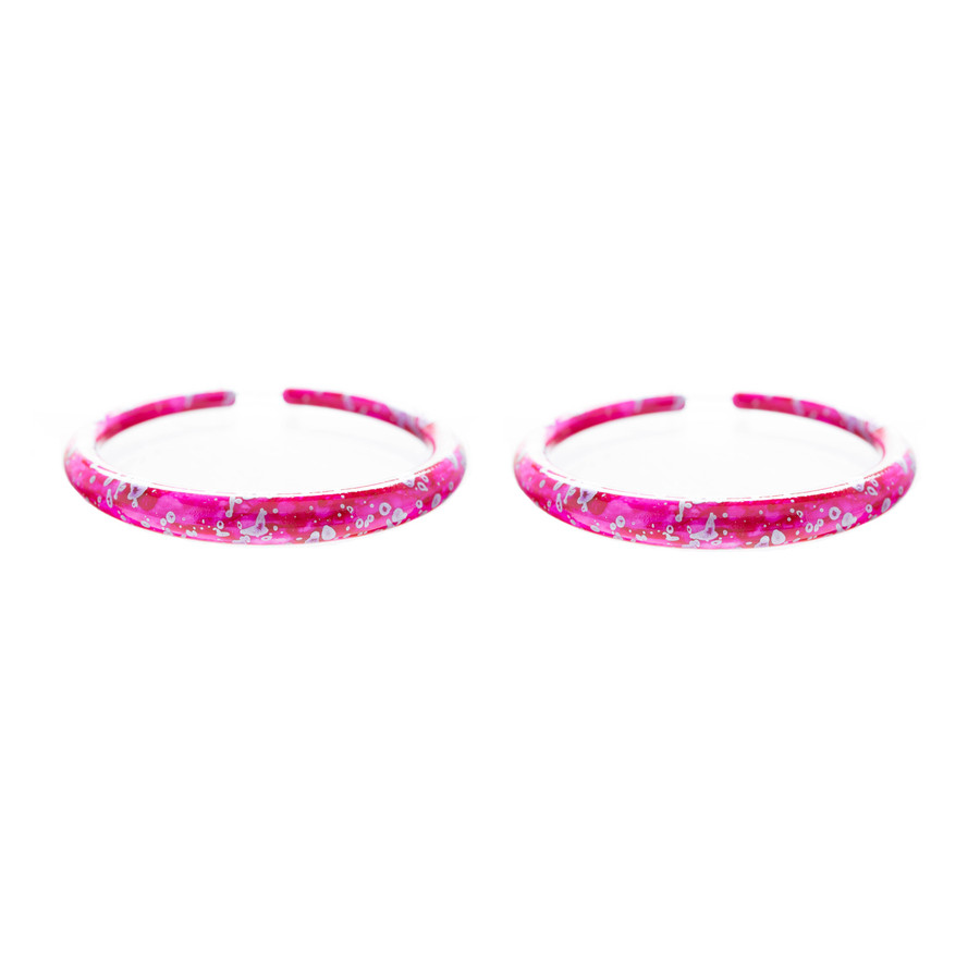 Fashion Stylish Chic Abstract Design Hoop Drop Earrings Silver Fuchsia Pink