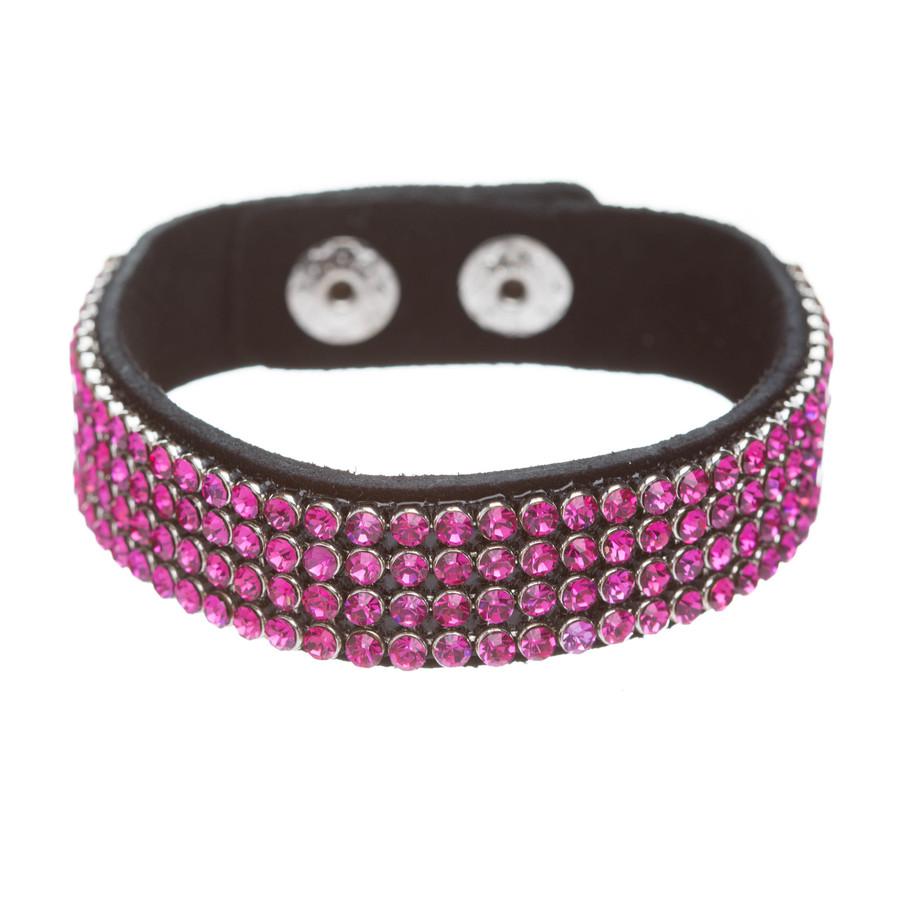 Simple Liner Sparkle Crystal Rhinestone Faux Leather Wrap Fashion Bracelet Pink