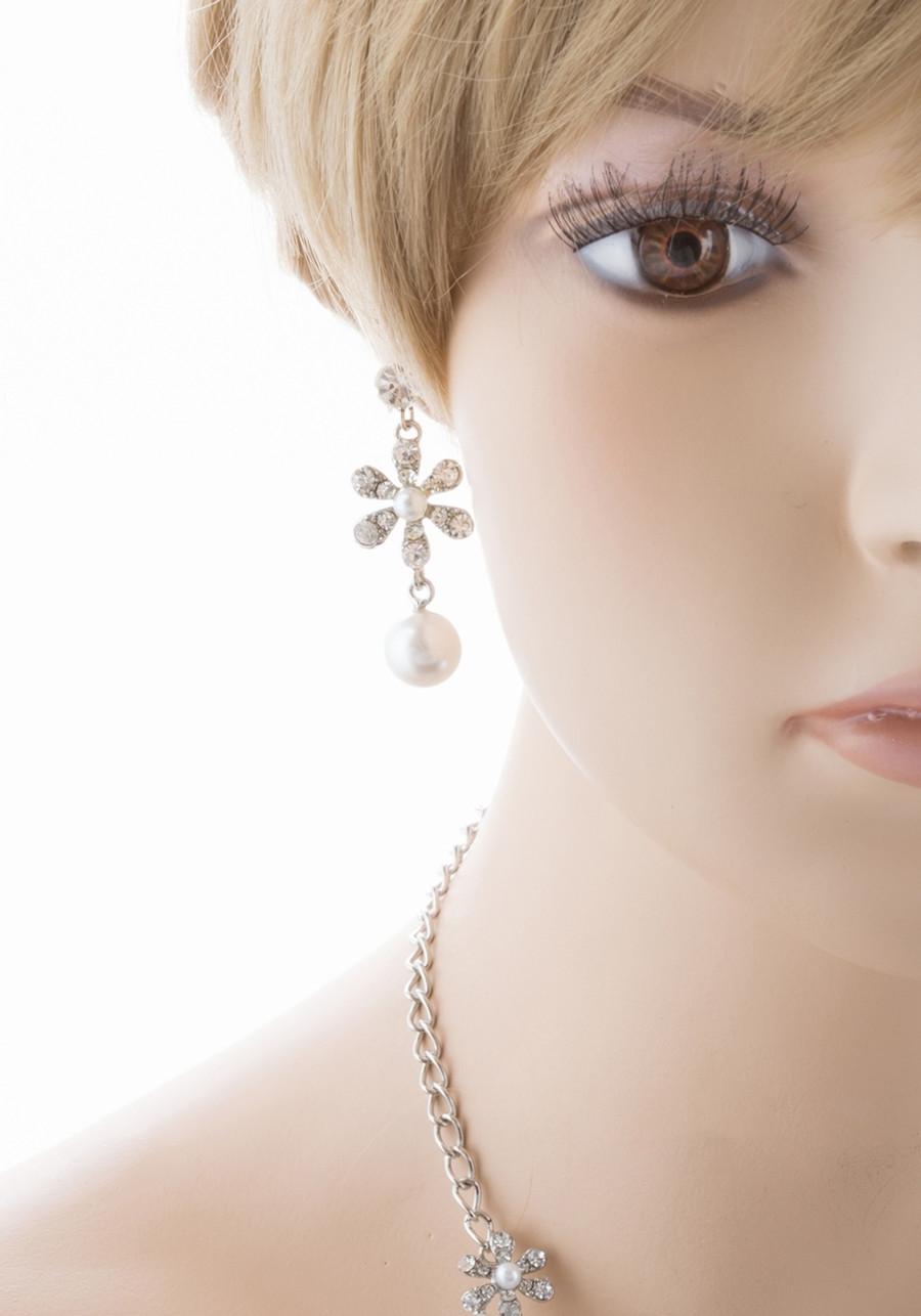 Bridal Wedding Jewelry Set Crystal Rhinestone Pearl Gorgeous Daisy Necklace SV