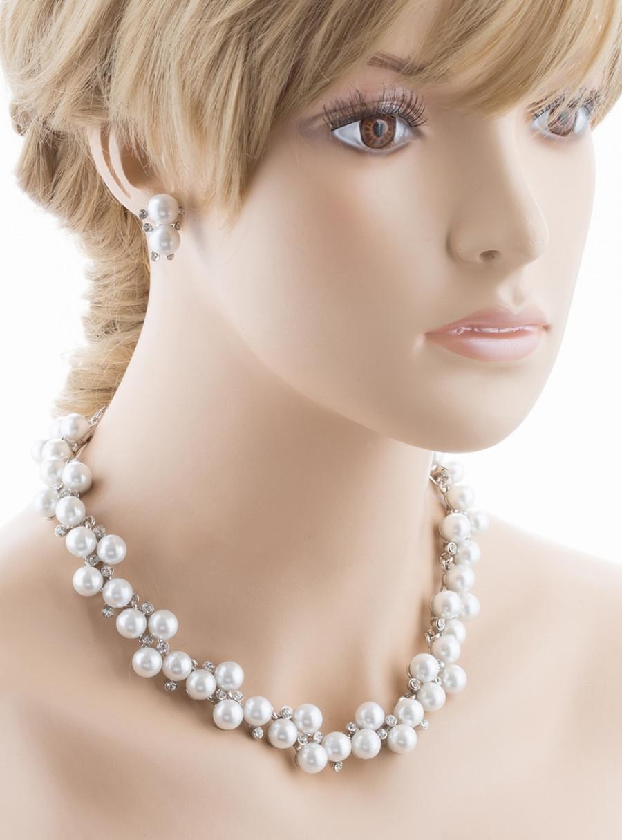Bridal Wedding Jewelry Set Crystal Rhinestone Pearl Lovely Elegance Necklace