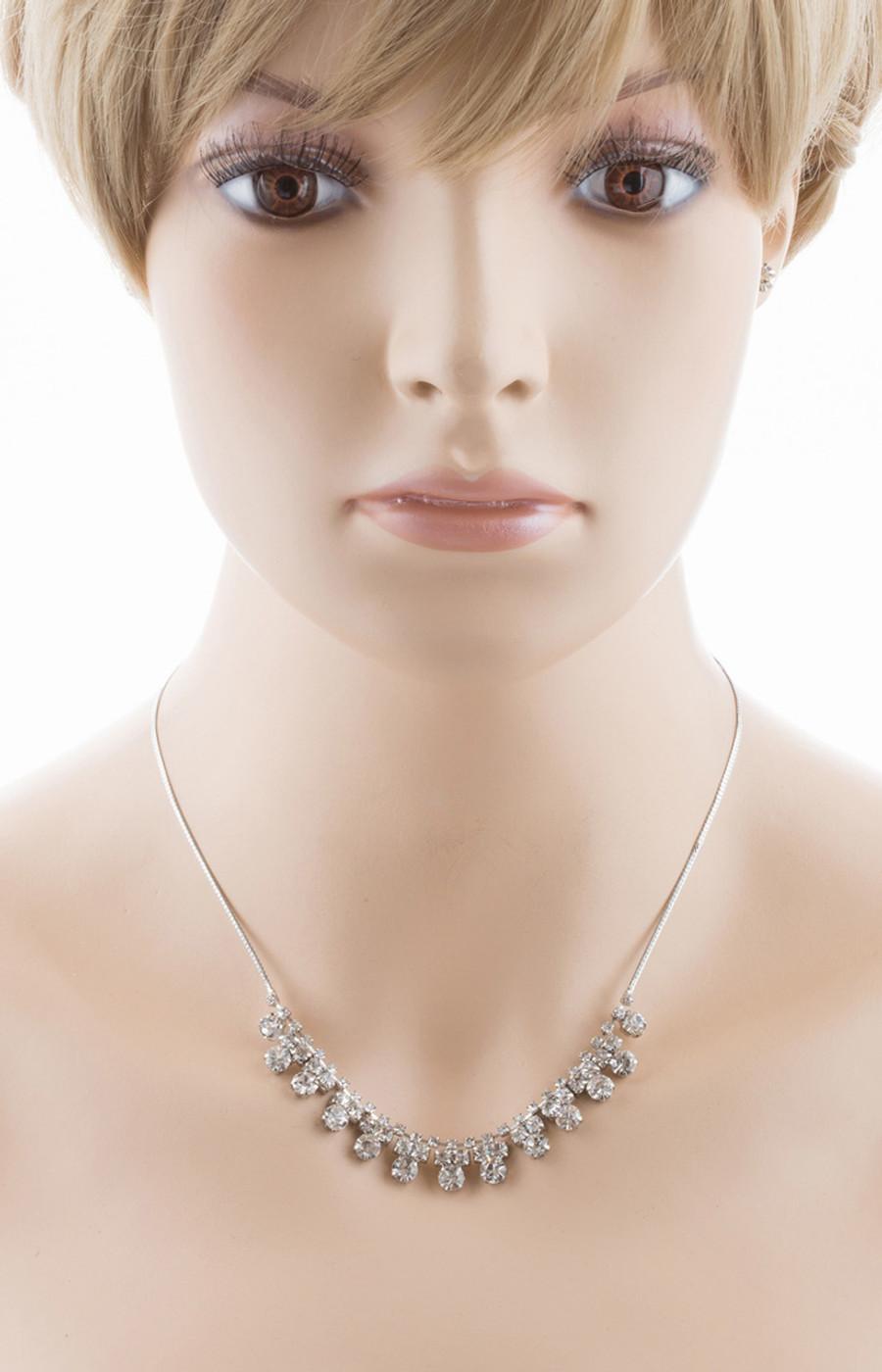 Bridal Wedding Jewelry Set Crystal Rhinestone Simple Classic Linear Bib Necklace