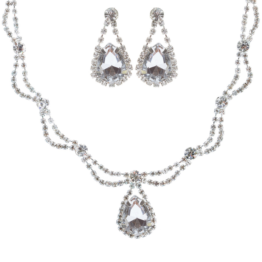 Bridal Wedding Jewelry Crystal Rhinestone Lovely Beautiful Sweet Necklace Silver