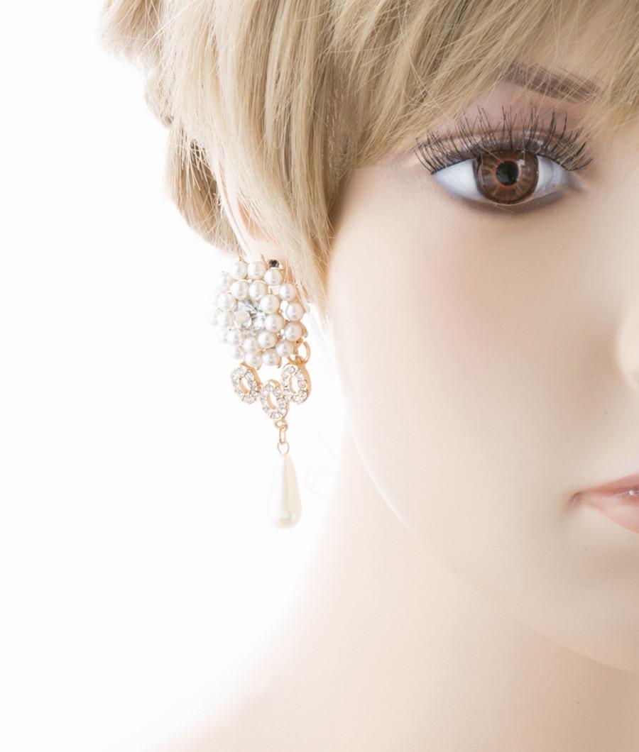Bridal Wedding Jewelry Crystal Rhinestone Pearl Dangle Teardrop Earrings Gold
