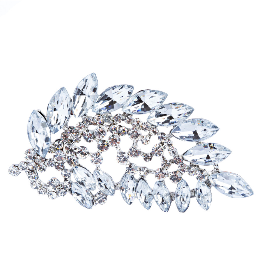 Bridal Wedding Jewelry Crystal Rhinestone Stunning Feather Charm Brooch Pin BH98