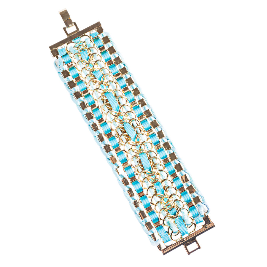 Beautiful Stone Fabric Crystal Rhinestone Latch Fashion Wide Bracelet B456 Blue
