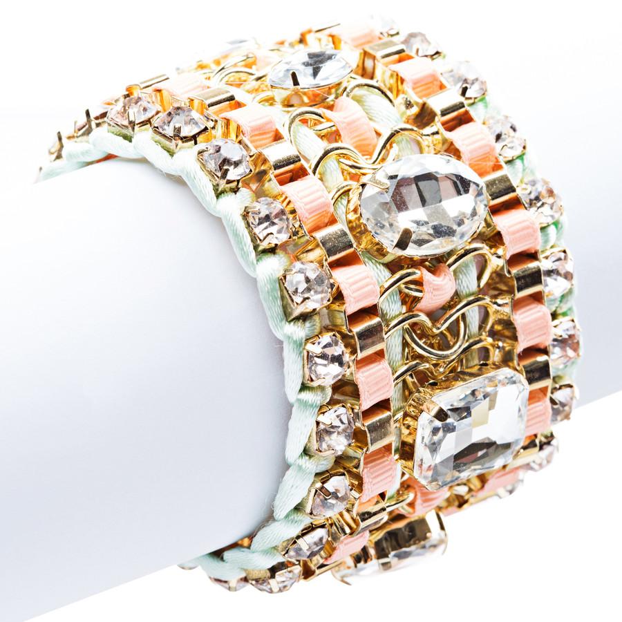 Beautiful Stone Fabric Crystal Rhinestone Latch Fashion Wide Bracelet B456 Pink