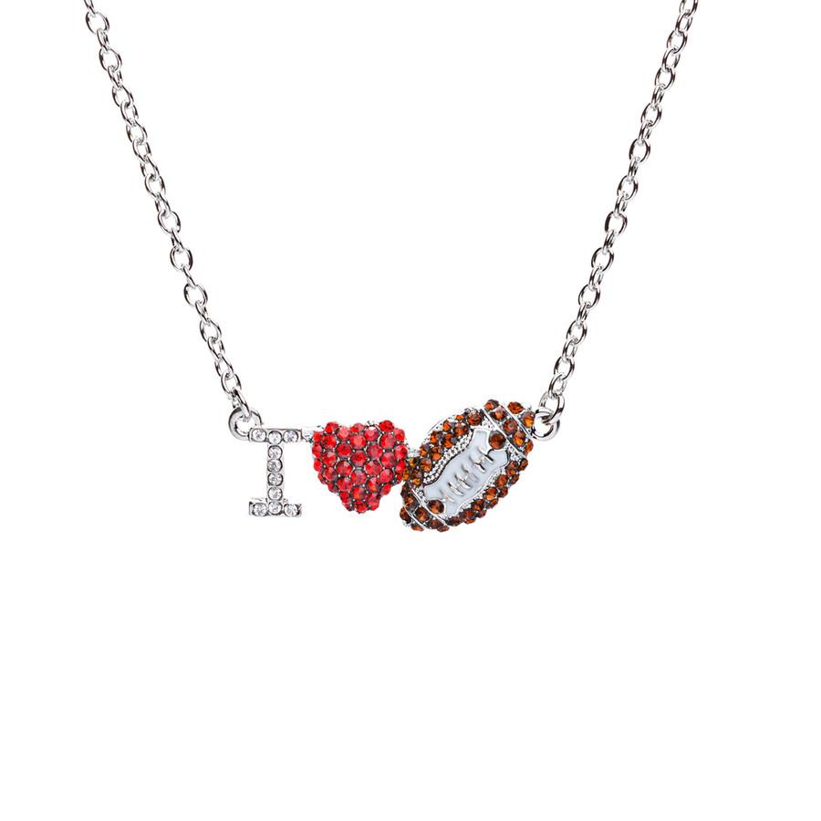 Sport Jewelry I Love Football Crystal Rhinestone Heart Fashion Necklace Silver