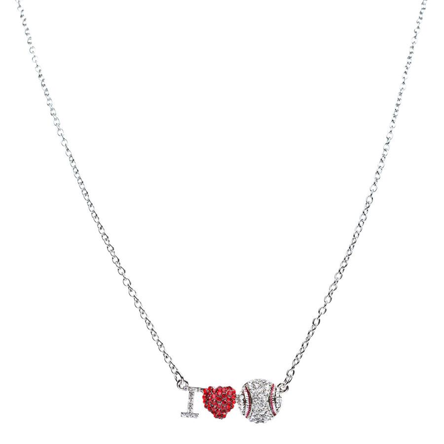 Sport Jewelry I Love Baseball Crystal Rhinestone Heart Fashion Necklace Silver