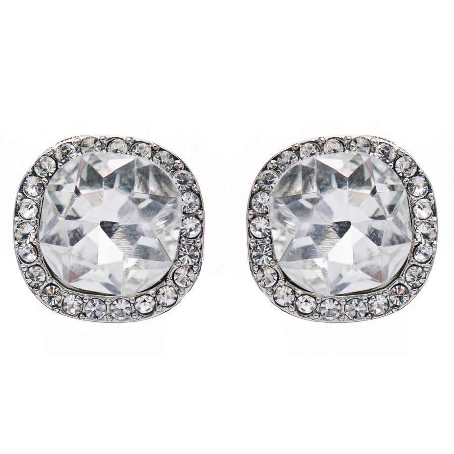 Bridal Wedding Jewelry Crystal Rhinestone Rounded Square Stud Earrings Silver