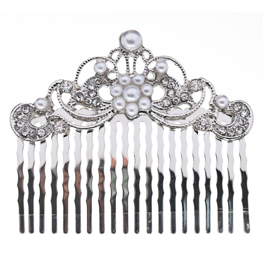 Bridal Wedding Jewelry Crystal Rhinestone Pearl Beautiful Vintage Hair Comb Pin