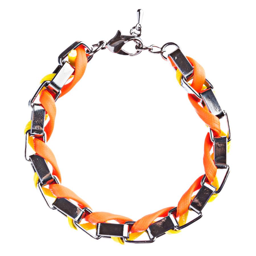 Casual Design Ordinary Yet Striking Wrap Around Braided Link Bracelet B487Orange