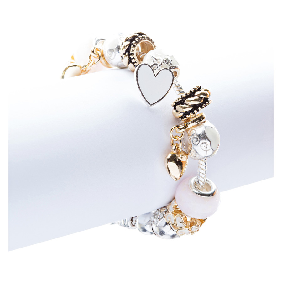 Contemporary Fashion Lovely Glass Bead Heart Charms Link Bracelet B490 Pink