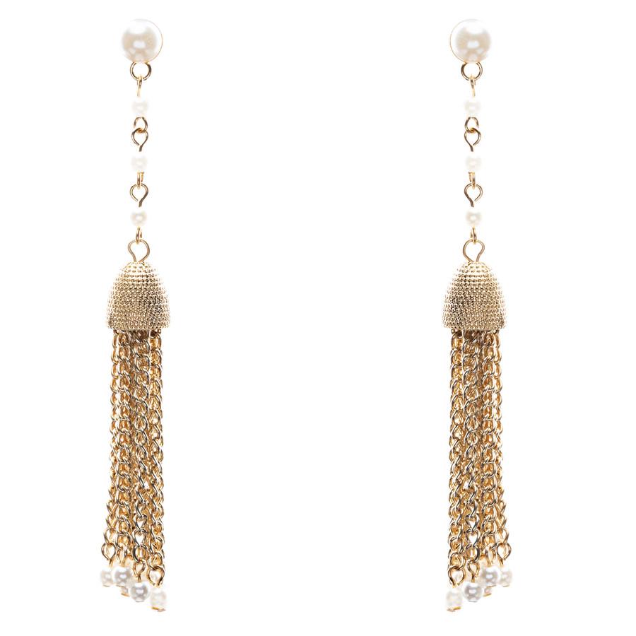 Bridal Wedding Jewelry Beautiful Faux Pearl Chandelier Dangle Earrings E809 Gold