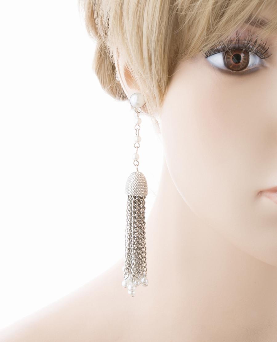 Bridal Wedding Jewelry Beautiful Faux Pearl Chandelier Dangle Earrings E809 SV