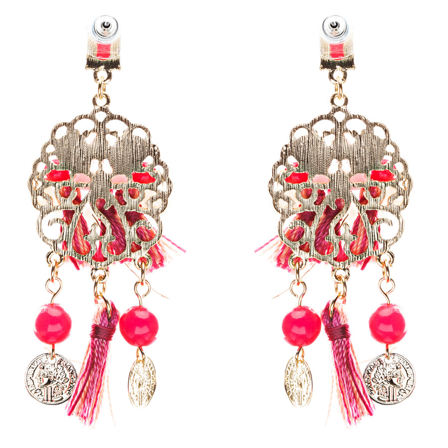 Unconventional Design Faux Pearl Dream Catcher Beaded Dangle Earrings E810 Red