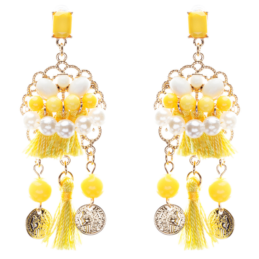 Unconventional Design Faux Pearl Dream Catcher Beaded Dangle Earrings E810Yellow