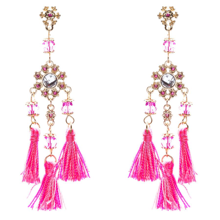 Unconventional Design Crystal Rhinestone Fun Tasseled Dangle Earrings E811 Pink
