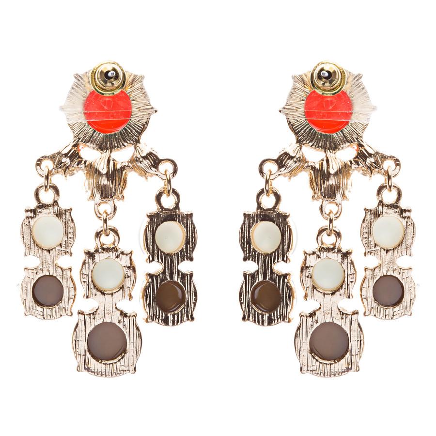 Contemporary Fashion Crystal Rhinestone Daring Design Dangle Earrings E852 Brown