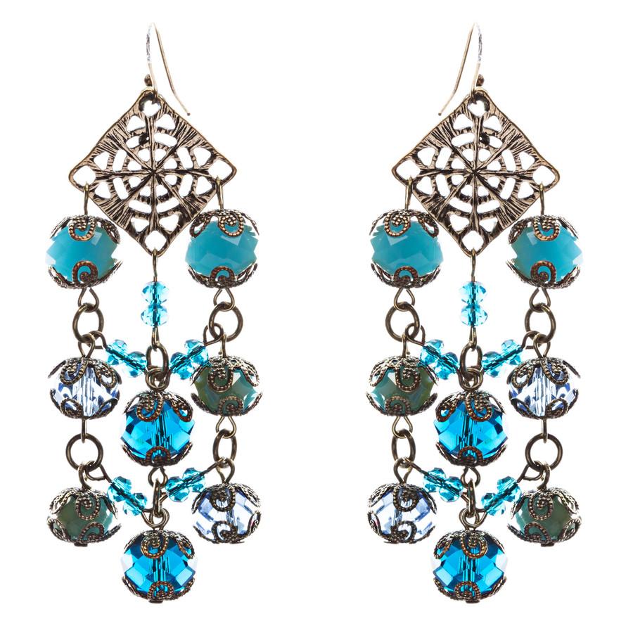 Bold Fashion Extraordinary Beaded Charms Design Dangle Earrings E853 Blue