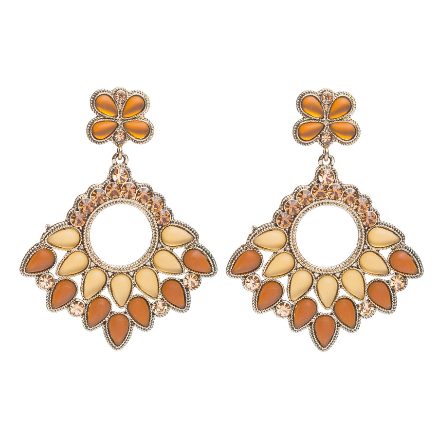 Stunning Fashion Crystal Rhinestone Chandelier Large Drop Earrings Gold
