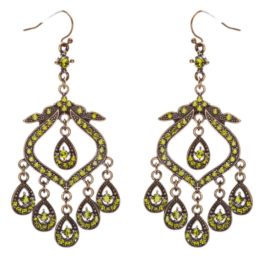 Crystal Pave Vintage Chandelier Luxury Earring Green