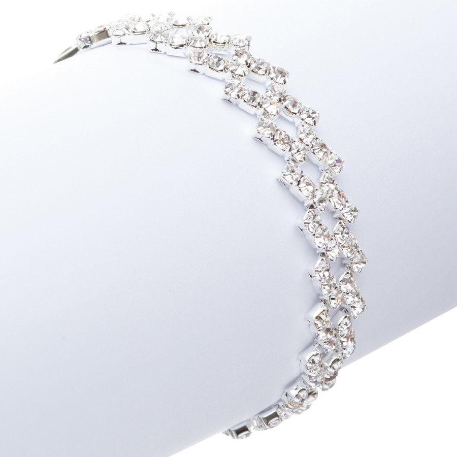 Fashion Chic Crystal Rhinestone Simple Yet Elegant Link Bracelet B422 Silver