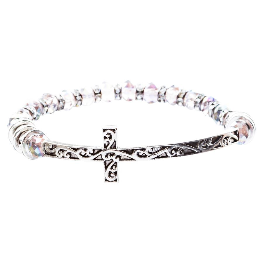 Lovely Crystal Rhinestone Cross Design Fashion Statement Bracelet B472 Purple