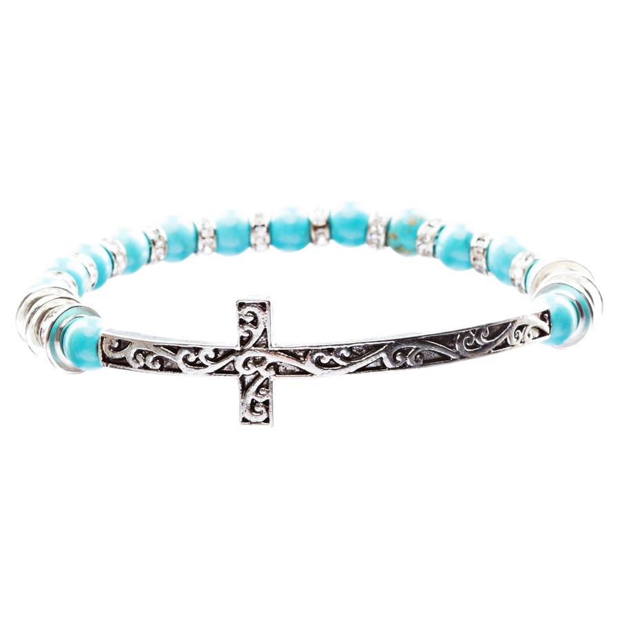 Lovely Crystal Rhinestone Cross Design Fashion Statement Bracelet B472 Turquoise
