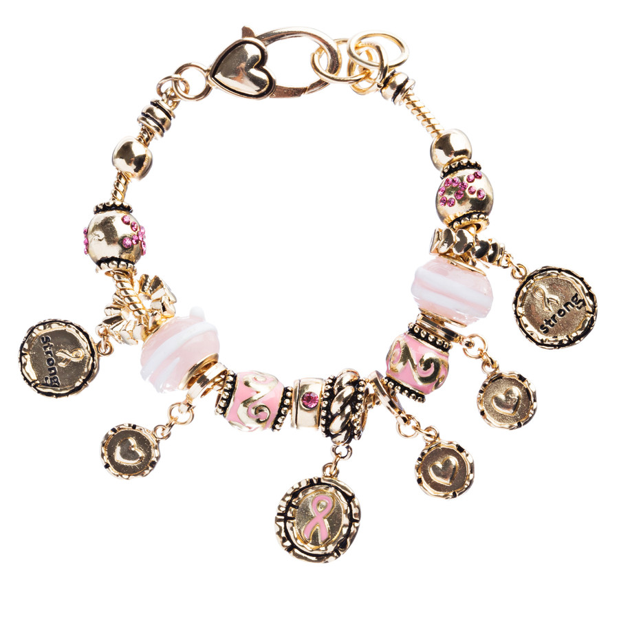 Pink Ribbon Jewelry Crystal Rhinestone Gorgeous Charms Link Bracelet B479 Pink