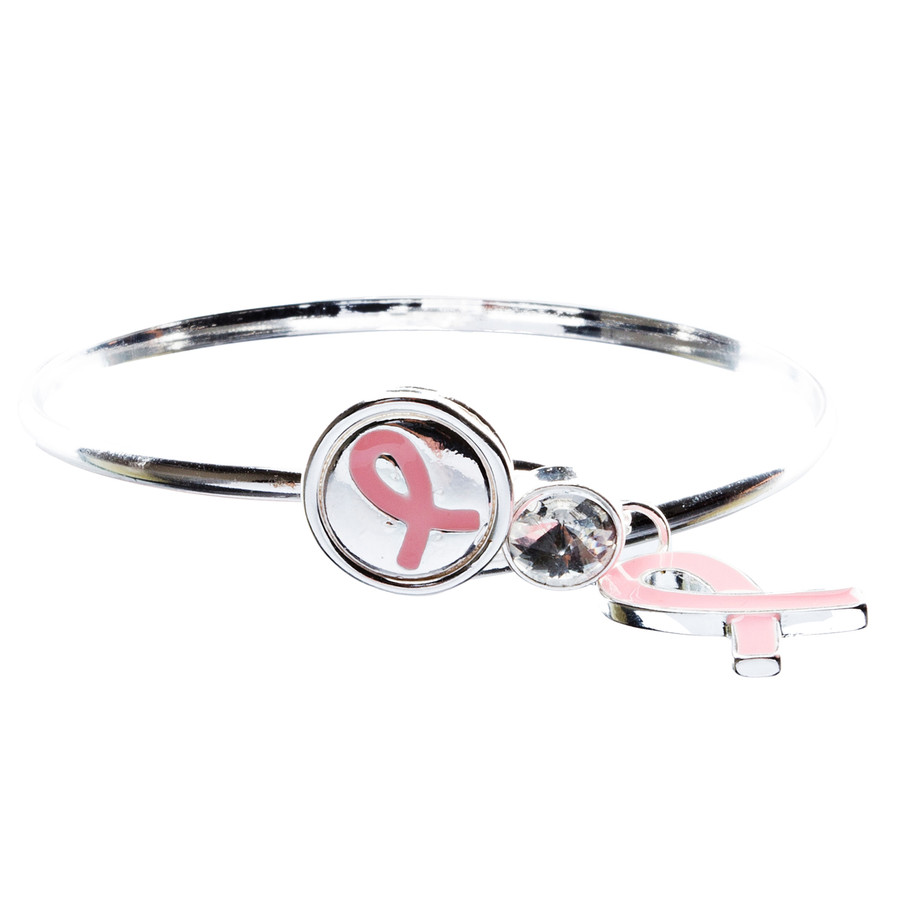 Pink Ribbon Breast Cancer Awareness Jewelry Classic Bangle Bracelet B483 Silver