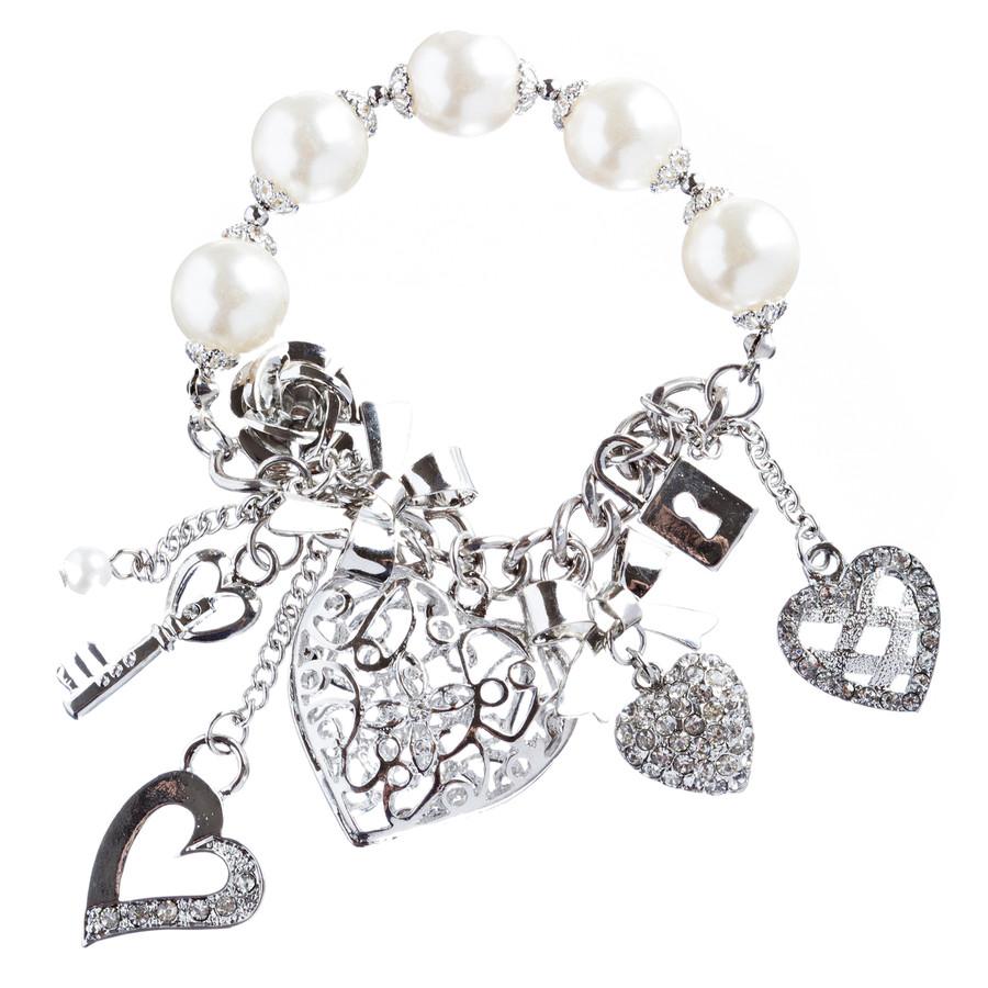 Valentine's Day Jewelry Crystal Rhinestone Adorable Heart Charm Bracelet B291 SV