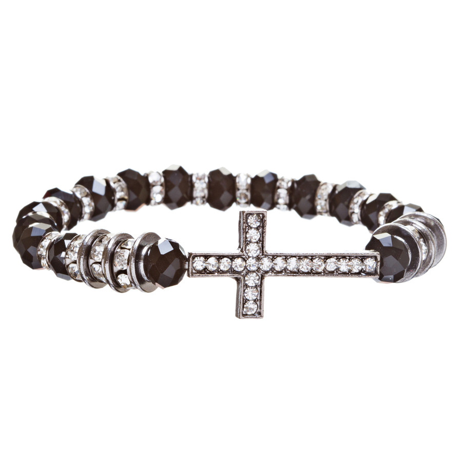 Cross Jewelry Crystal Rhinestone Trendy Design Cross Stretch Bracelet B362 Black