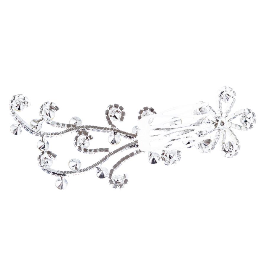 Bridal Wedding Jewelry Rhinestone Simple Floral Decorative Hair Comb H184 Silver