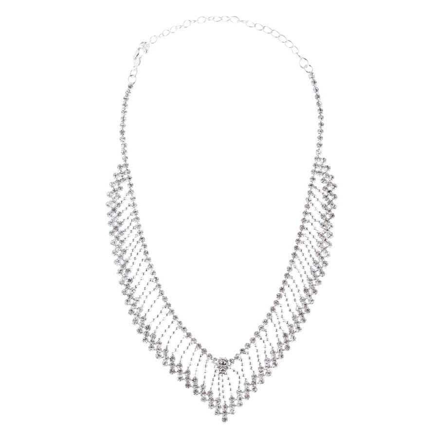 Bridal Wedding Jewelry Crystal Rhinestone Modern V Drop Necklace Set J682 SV