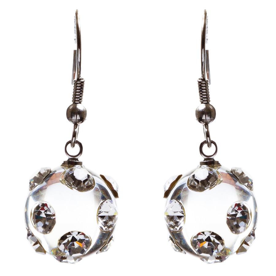 Bridal Wedding Jewelry Crystal Rhinestone Adorable Crystal Ball Earrings E79 SLV