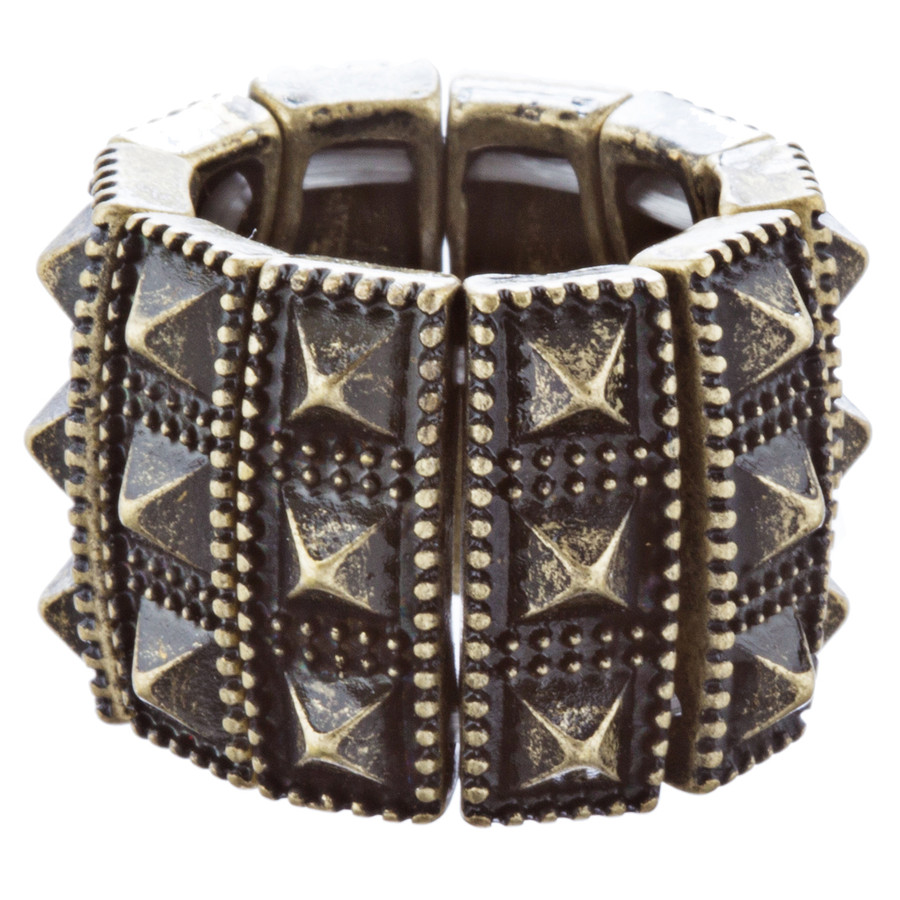 Stylish Chic 3 Rows Spike Design Stretch Fashion Ring R221 Antique Gold