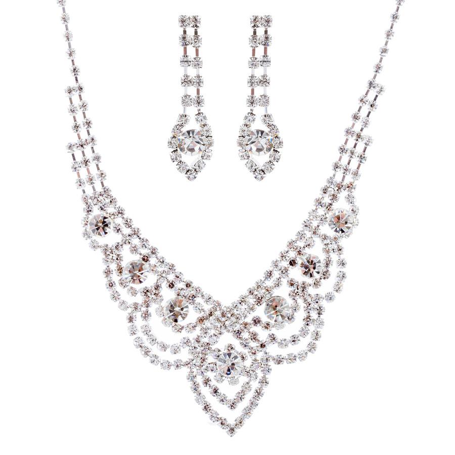 Bridal Wedding Jewelry Crystal Rhinestone Classic Bib Drop Necklace Set J674 SV
