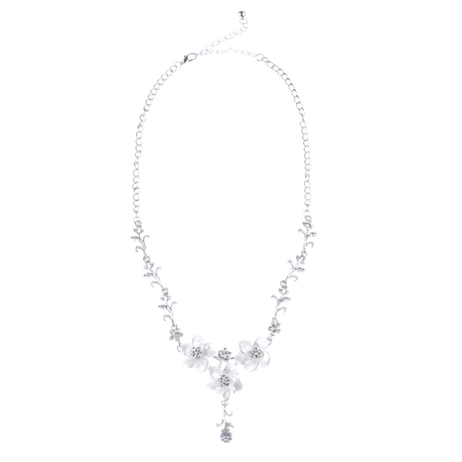 Bridal Wedding Jewelry Crystal Rhinestone Lovely Floral Necklace Set J695 Silver