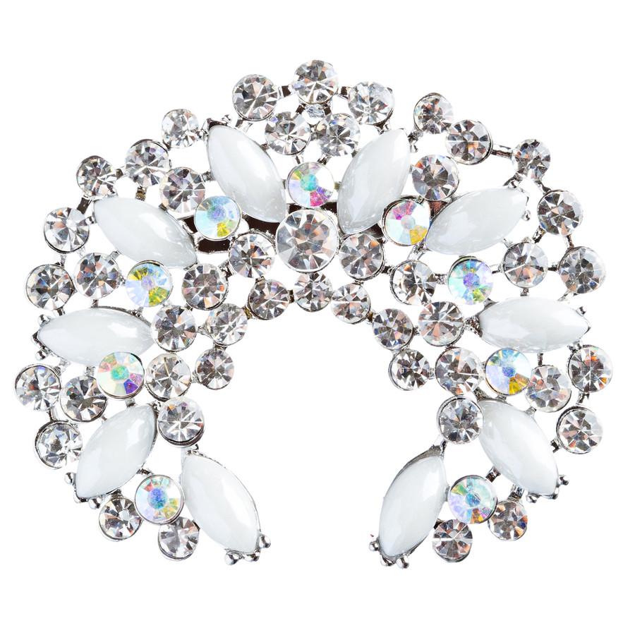 Bridal Wedding Jewelry Crystal Rhinestone Crescent Brooch Pin BH174 Silver