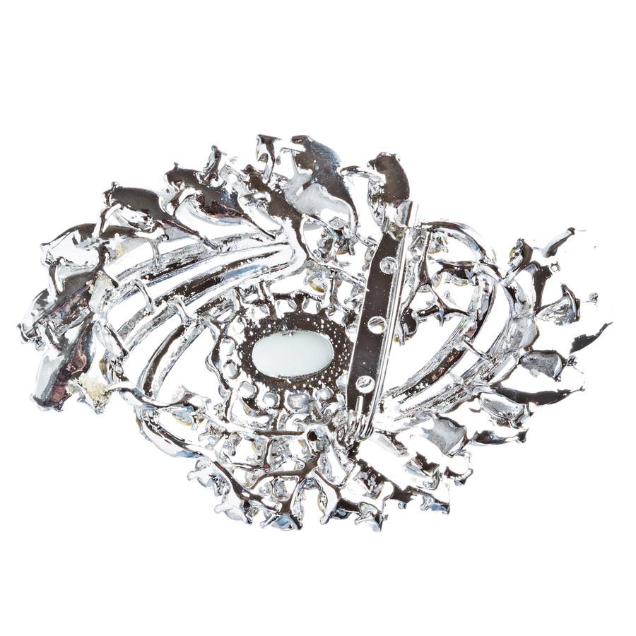 Bridal Wedding Jewelry Crystal Rhinestone Classy Brooch Pin BH176 Silver