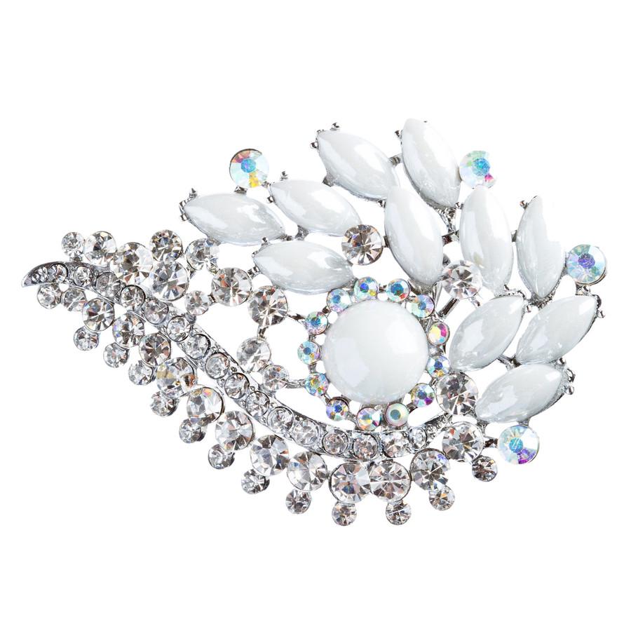 Bridal Wedding Jewelry Crystal Rhinestone Classy Brooch Pin BH178 Silver