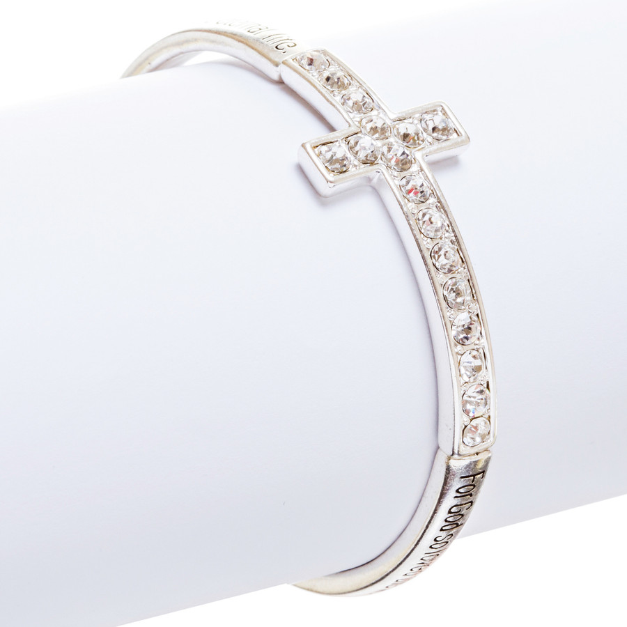 Cross Jewelry Crystal Rhinestone Simple Charm Stretch Bracelet B509 Silver