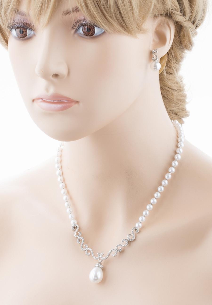 Bridal Wedding Jewelry Crystal Rhinestone Pearl Swirl Links Necklace Set J648 SV
