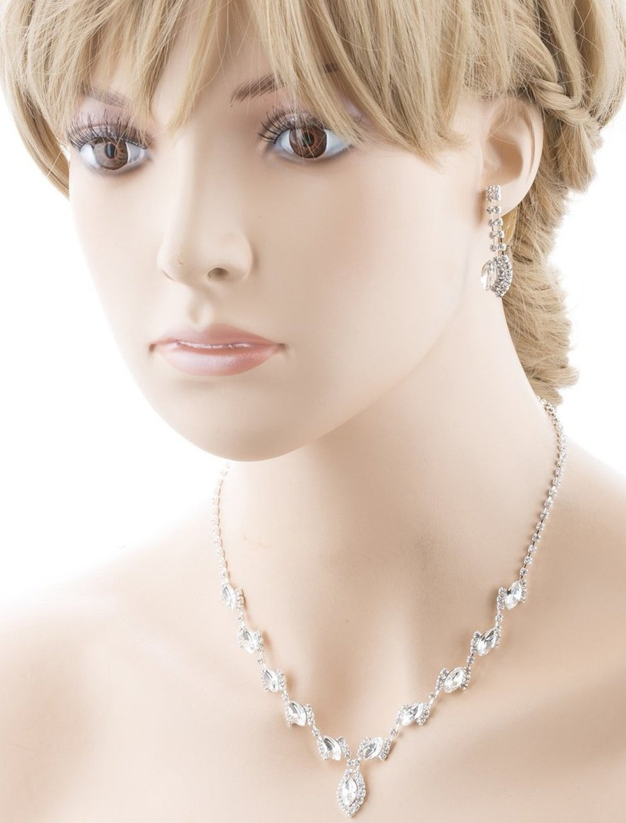 Bridal Wedding Jewelry Prom Crystal Rhinestone Classy Chic Necklace Set J669 SV