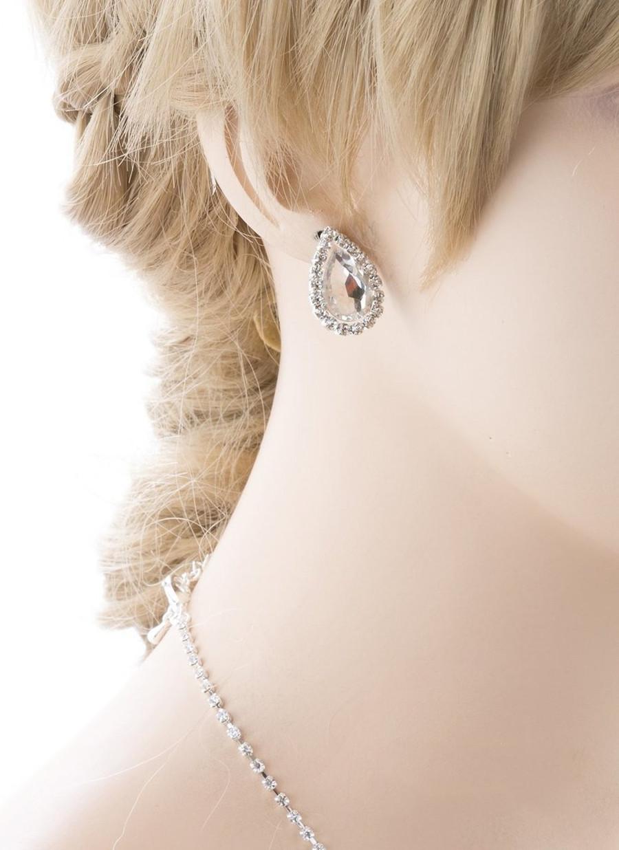 Bridal Wedding Jewelry Crystal Rhinestone Gorgeous Teardrop Necklace Set J670 SV