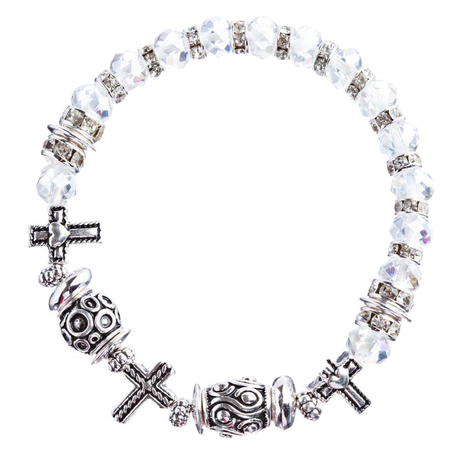 Cross Jewelry Crystal Rhinestone Fascinating Stretch Bracelet B463 White