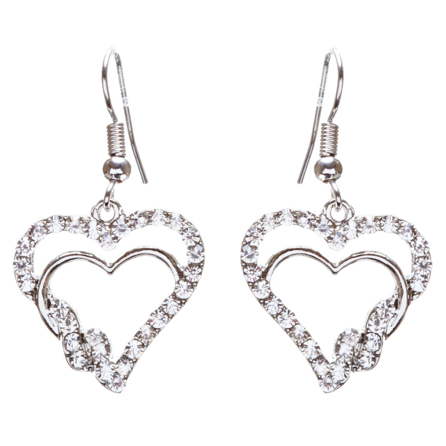 Valentines Jewelry Beautiful Crystal Rhinestone Hearts Earrings E907 Silver